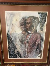 "STUNNING AFRICAN art. ""LADIES UNITE."" bought in Cape Town."
