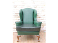 Quality firm and strong high back Queen Anne armchair (Delivery)