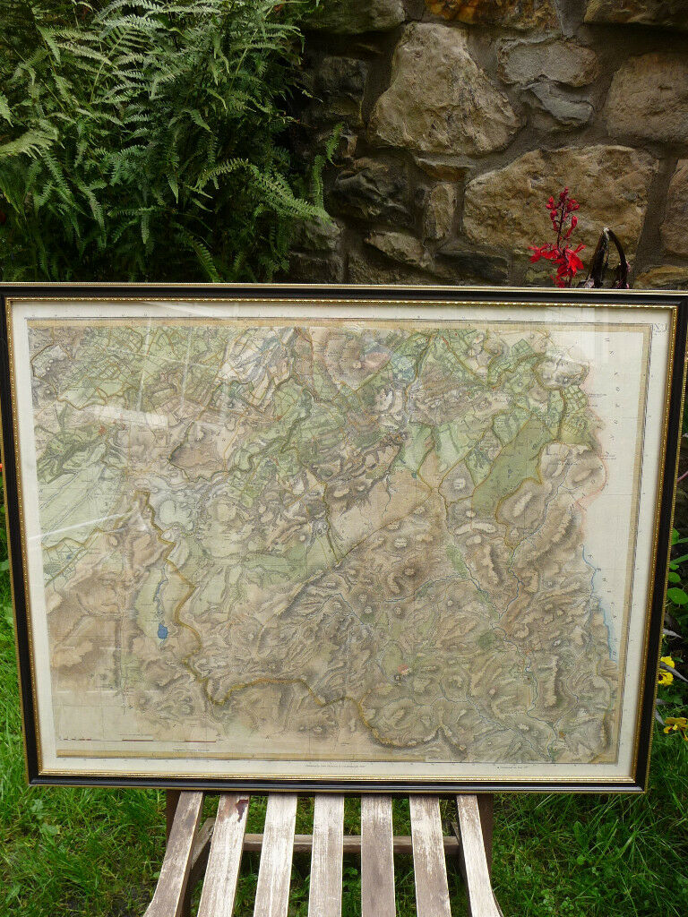 ANTIQUE 1827 DATED MAP EDINBURGH SHIRE JOHN THOMSON ATLAS of SCOTLAND EDINBURGH COLOUR MAP