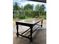 Solid Dark Oak Antique Refectory Table
