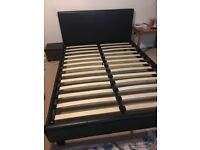 Leather brown double bed