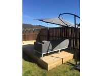 LEANOVER SOLAR LIGHTS GREY PARASOL,STAND AND WEIGHT