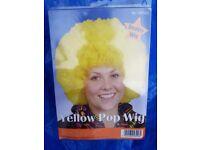 Yellow Pop Wig Adult Size Unisex Fancy Dress Afro - brand new