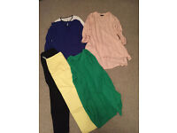 size 12( but could fit size 10 no prob )tops, trousers, dresess, green cardingan.