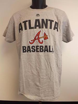 New Atlanta Braves Mens Sizes S M L Xl 2Xl Majestic Gray Shirt Msrp  26