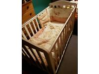 Mothercare cot in white 3 position Base. Excellent condition