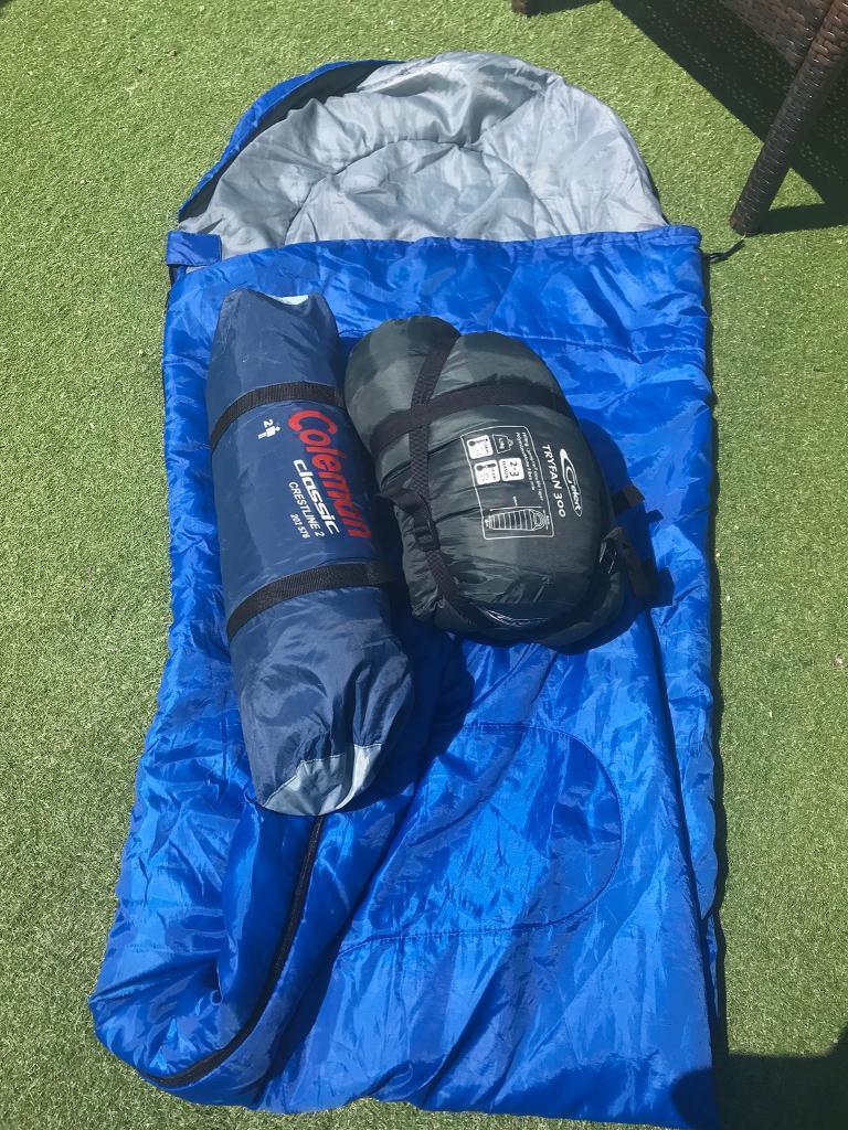 2 Man Tent With Sleeping Bags Coleman Crestline Gelert Tryfan 300