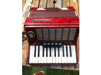 Weltmeister Stella ACCORDION red excellent condition INCLUDES-TRANSPORT-CASE