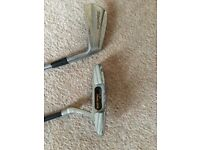Golf club no 7 iron, and a putter . Used Suit beginner £4