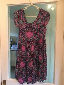 New look size 8 skater dress pink floral