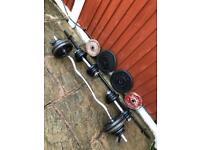 88kg CastIron Dumbbells Barbell Curl Bar Weights Set. •Can Deliver•