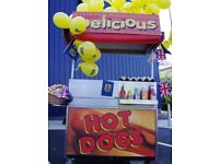 Mobile Catering Vendor Cart: Hot dogs, Burgers, Roast Chestnuts, Doughnuts. work leads if required
