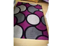 Stain Resistant Circle Design Colourfast Purple Grey Rug 150cm x 220cm