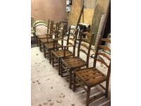 Vintage Ercol set of six ladder back dining chairs included 2 chair carvers