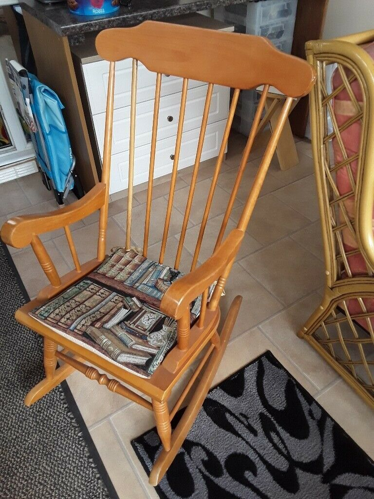 Surprising Pine Rocking Chair For Sale With Cushion In Wroughton Wiltshire Gumtree Machost Co Dining Chair Design Ideas Machostcouk