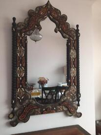 Solid wood Moroccan mirror with ivory and stones