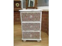 Upcycled, shabby chic, decoupaged bedside table/drawers in white chalk paint