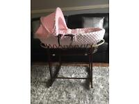 PINK DIMPLED DARK WICKER MOSES BASKET & ROCKING STAND