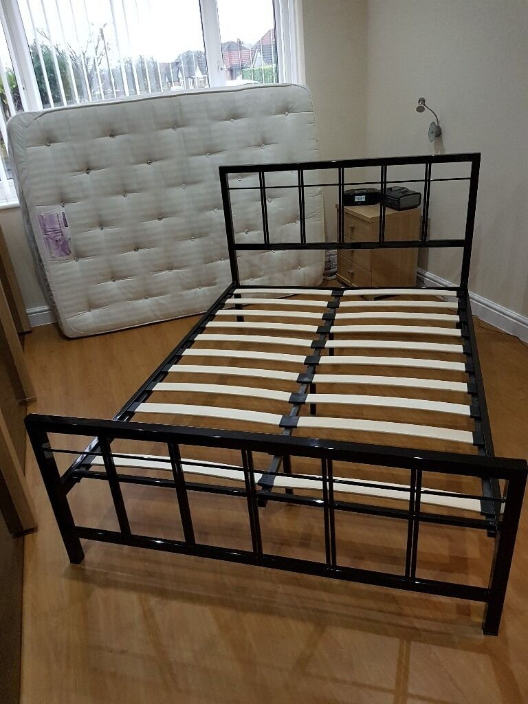 Black Square Metal Bed Frame Double In Wirral