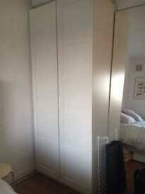 IKEA Pax white wardrobe with trouser rack and metal drawers