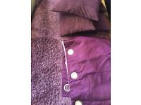 Purple large rug curtains and cushions