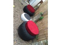 Two large tractor tyres