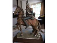 Large Capodimonte ornament. Soldier on horse