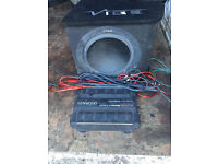Vibe s12 sub and kenwood amp 600w with fuse and wiring kit fully working