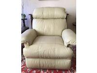 Cream leather recliner armchair