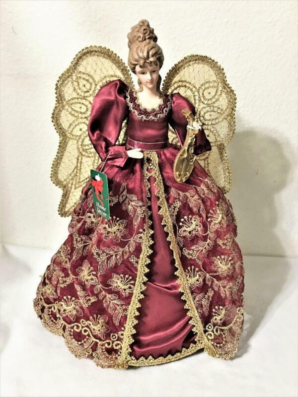 CHRISTMAS PORCELAIN ANGEL TREE TOPPER BURGUNDY & GOLD GOWN SPARKLING WINGS 17""