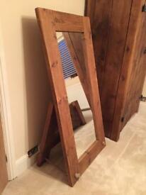 Chunky wooden antique pine mirror with stand