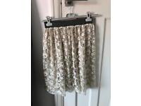 Cream reversible lace and satin skirt