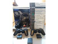 Ps2 consoles x2 +22 games + steerig wheel+2x wireless pads