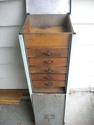 Vintage Dental Doctor Medical Dentist Watchmaker Clockmaker Steel & Wood Cabinet