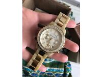 NEW! Michael Kors 'Madison' Resin and Crystal Watch Gold with Box! (HARD TO FIND
