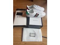 Gucci classic Womens Ace Bee Embroidery sneakers (White)