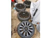 "18"" 5x100 5x112 Audi RS8 S8 Alloy wheels black vw seat skoda golf a3 a4 Leon bora mk4 mk5 njj"