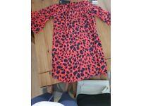 Coral leopard print dress