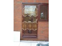 Brown and beige wood beaded curtain