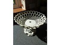 Vintage Porcelain Pedestal Lattice Work Bowl
