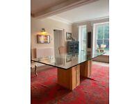 Stunning Glass and Hardwood Dining Table