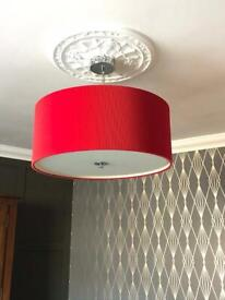Large main ceiling light and matching lamp.