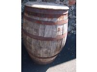 Old oak whiskey barrel wooden suitable for outdoor conversion project upcycling