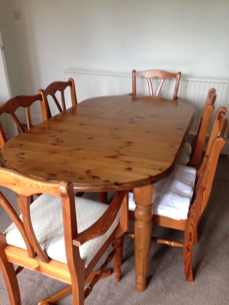 Antique Pine Extending Dining Table And 6 Matching Chairs With Cream Seats In Norwich Norfolk