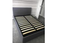 Ottoman Double Bed Grey fabric