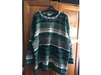 XL/XXL vintage knitted jumper patterned green unisex