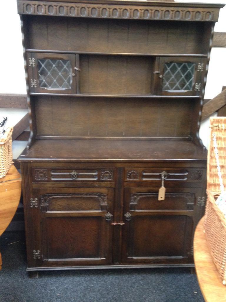 Lovely solid dark wood welsh dresser with two leaded glass doors lovely solid dark wood welsh dresser with two leaded glass doors planetlyrics Gallery