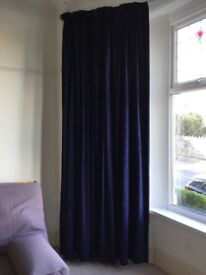 Extra large pair of navy lined curtains