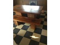 Dining table and benches solid oak
