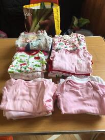 Girls sleepsuits and vests 3-6 months